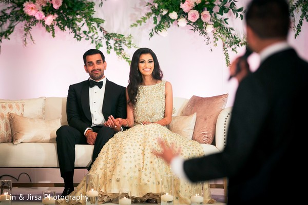indian wedding reception floral and decor,indian bride hair and makeup,indian groom fashion