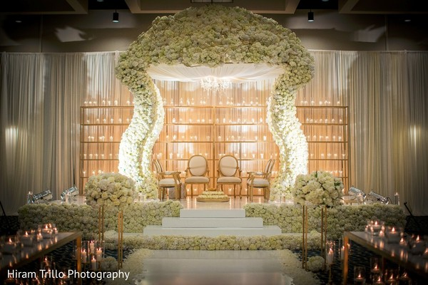 Beautiful white and gold themed mandap