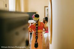 Indian bride preparing pre-ceremony