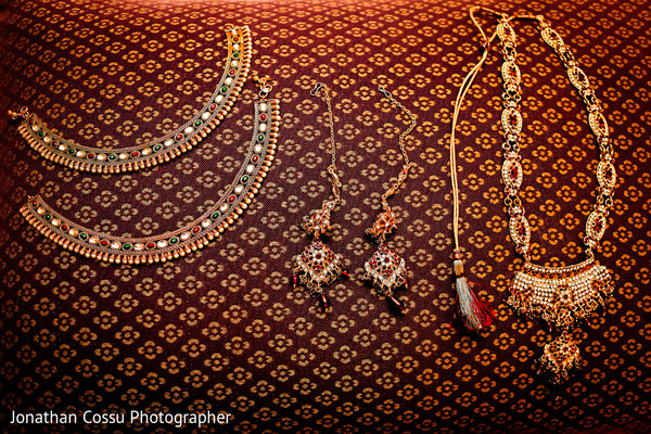 Bride jewelry set photography. in Cancun, Mexico Indian Wedding by Jonathan Cossu Photographer