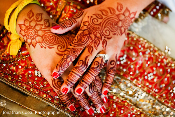 Lovely flower henna design. in Cancun, Mexico Indian Wedding by Jonathan Cossu Photographer