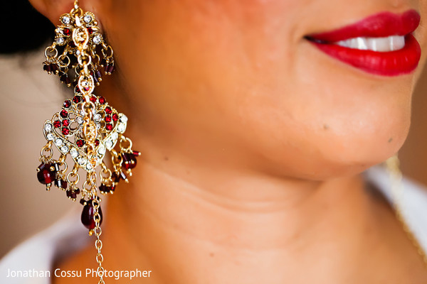 Beautiful bridal jewelry. in Cancun, Mexico Indian Wedding by Jonathan Cossu Photographer