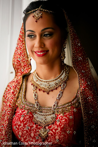 Dreamy indian bride portrait. in Cancun, Mexico Indian Wedding by Jonathan Cossu Photographer