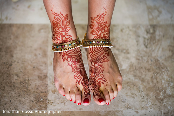 Indian bride feet henna art. in Cancun, Mexico Indian Wedding by Jonathan Cossu Photographer